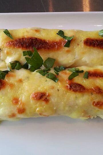 plato terminado de crepe de vegetales