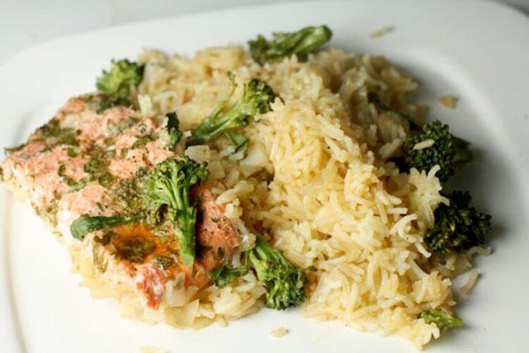 arroz con salmón receta
